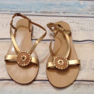 JACK ROGERS Metalic Gold Cork Medallion Sandals